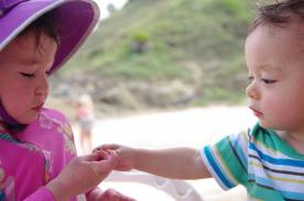 Sharing raisins with baby Luca
