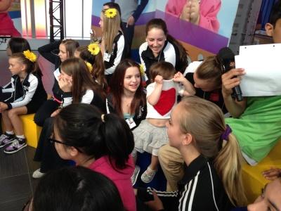 Playing peekaboo with the girls from Lisa's Dance School