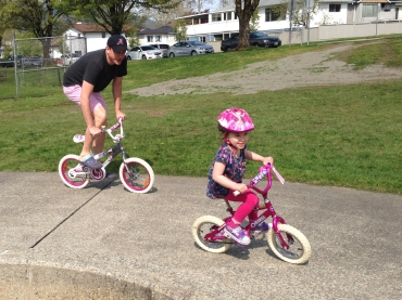 Thanks to my donor Audrey I can race bikes with my daddy!