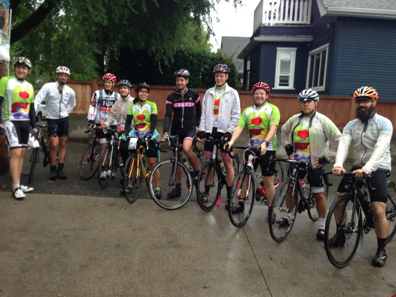Even with a few fairweather drop-outs, what an awesome turnout for the Recycle Ride!