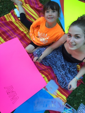 Sign-making day with Sheena.