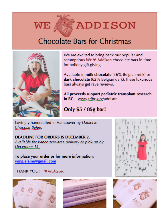 We Heart Addison bars Christmas flyer