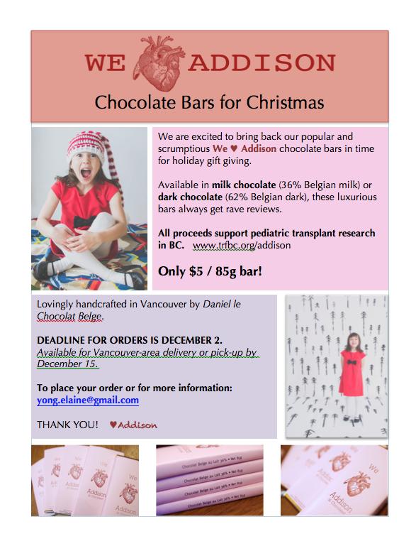 We Heart Addison bars Christmas flyer