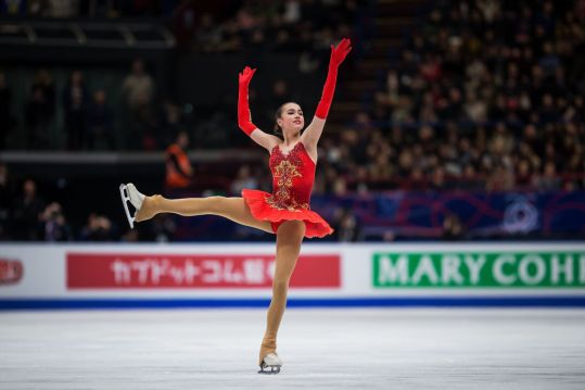 MILAN, ITALY - MARCH 23: Alina Zagitova of Russia competes in the Ladies Free Skating during day three of the World Figure Skating Championships at Mediolanum Forum on March 23, 2018 in Milan, Italy. (Photo by Joosep Martinson - ISU/ISU via Getty Images)
